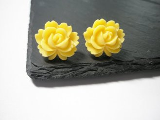 Yellow Rose Flower Post Earrings Silver hand made by FruttiTuttiBeadCandy