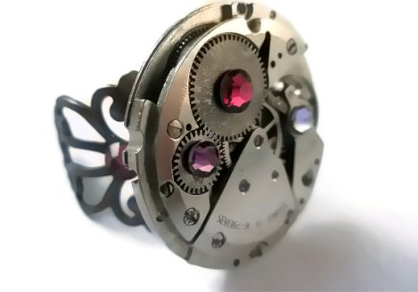 Jewelry Steampunk Ring Vintage Watch Ring Purple Lilac hot pink Swarovski crystal Copper FiligreeBy Frutti Tutti Bead Candy