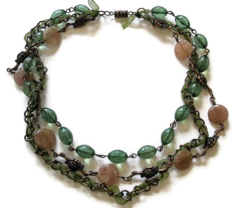 Green Ribbon Necklace Copper jewelry chain Rose Pink Quartz Vintage recycled beads multi strand.