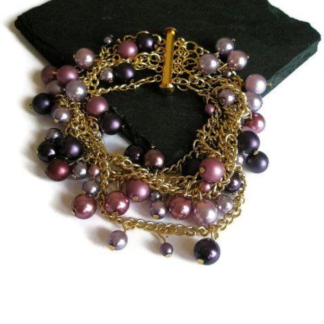 Multi stranded Bracelet gold chain and purple pearl Bridal prom Spring