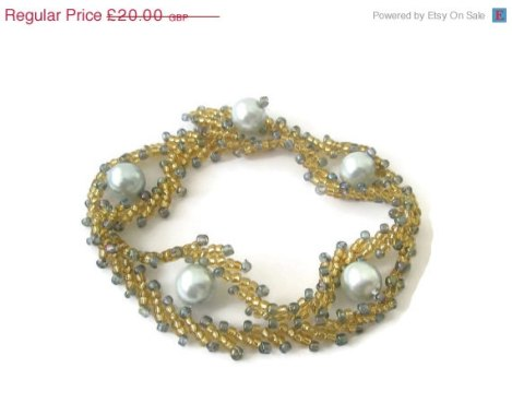 SUMMER SALE Gold Bracelet light Blue Swarovski Glass Pearls St. Petersburg Stitch delicate bead work made in the UK