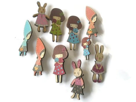 Brooch Folk Style wooded hand painted Fairytale cute rabbits girls