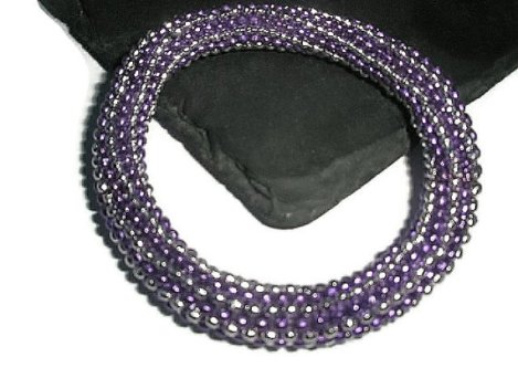 Bracelet Metallic Purple Silver snowflake beads Bubble stretchy bangle Adjustable hand Made in UK by Frutti Tutti Bead Candy.