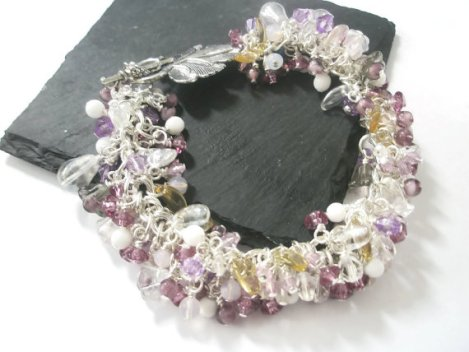 Beaded Bracelet Lilac Purple Silver Flowers Crystal Glass Vintage bead mix Chunky Charm statement piece.