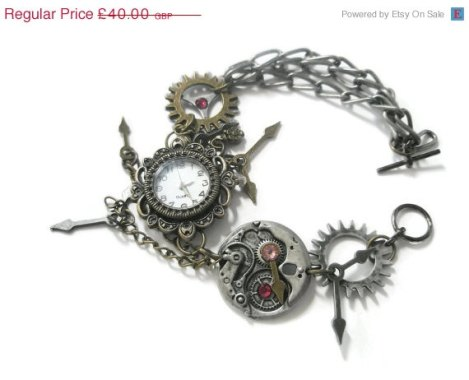 Holiday Sale Bracelet Steampunk Watch jewelry cogs hands gears charms Swarovski crystal Jewellery ready to ship.